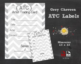 ATC  / ACEO - Artist Trading Card / Art Cards Editions & Originals Labels {Grey Chevron}