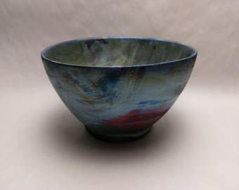 RAKU Decorative BOWL - Hawaiian Blue - Hand Made Ceramic