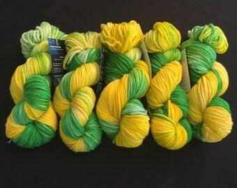 "Hand Dyed Yarn, Bulky Weight Yarn, ""Summer Dragon"", 137 yds"