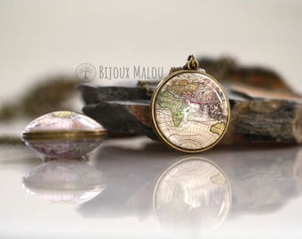 Double Sided Antique World Map Necklace Bronze Picture Necklace Map Necklace Jewellery Everyday Glass Travel Gift Necklace Bronze Globe