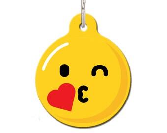 Kiss Emoji Pet Tag, Dog Name Tag, Personalized Pet Tag