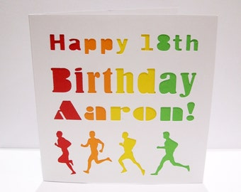 Personalised Birthday Card for a Runner - Paper Cut - Marathon, Running - for a Husband, Man, Son, 18th, 21st, 15th, 16th, 17th teenager
