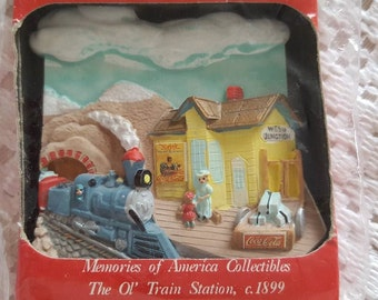 "1995 Coca Cola Sculpted and Hand-Painted Magnet Memories of America Collectibles ""The Ol' Train Station"" Poly Porceline"