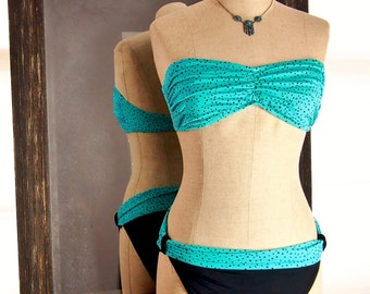 Vintage Bikini, Polka Dot Swimsuit, Teal Turquoise Bathing Suit, Small Medium 70s 80s Style