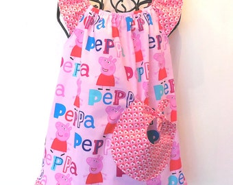 Girls Toddler Baby Girl Peppa Pig Birthday Dress Big Pocket Flutter Sleeve Ruffle Hearts Birthday Peasant Dress  Last One in Size 2T