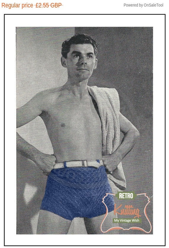 1950s Sewing Patterns | Dresses, Skirts, Tops, Mens 1950s Mans Swim Trunks Vintage Knitting Pattern – PDF Instant Download $2.98 AT vintagedancer.com