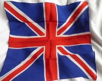 Vintage Union Jack Red White Blue silk handkerchief