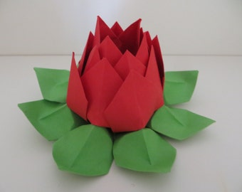 Origami Lotus Flower - Red and Green