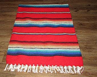 Vintage Mexican Serape Blanket Textile Throw Southwestern Boho Blanket