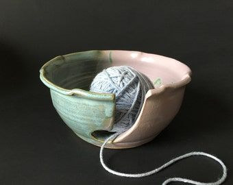 Wheel-thrown Yarn Bowl-Pale Rose and Aqua-perfect for knitters and crocheters of all ages