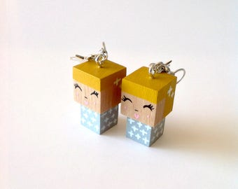 "Earrings Wooden Dolls ""- Hand-made"
