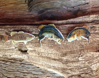 Set of 3 bass pins: 2 smallmouth bass and 1 largemouth bass collector pins, bass jewelry, fly fishing pins, smallmouth tie tack, fish tie
