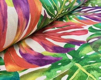 PALM TROPICAL LEAVES Cotton Fabric Palm Leaf Material for Curtains Upholstery -  140cm wide