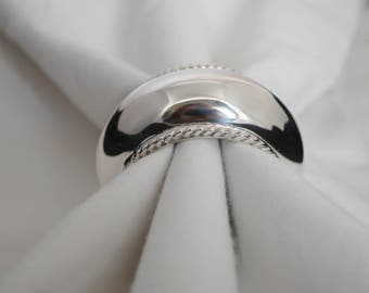 Sterling napkin ring, Silver 925 napkin ring round - barrel shaped with cord, elegant selection - luxury gift, full Handmade