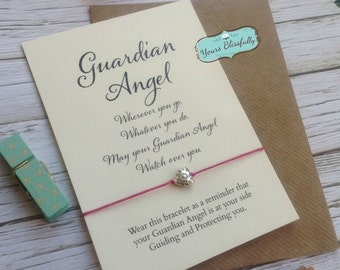 Angel Friendship Bracelet, Guardian Angel Card, Angel Bracelet, Angel Gift, Gift for Loss, Sympathy, Guardian Angel Gift, Angel Exam Guide