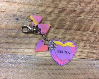 Personalized Heart keychain, Personalized Polymer Clay Keychain, Girls Heart Keychain, Personalized Heart keyring, Custom Heart Keychain