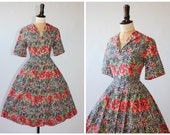 Vintage original 1950s 50s novelty print cotton dress lace pattern with flowers and buds floral UK 10 12 US 6 8 S M