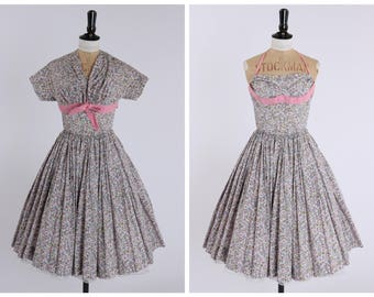 Vintage original 1950s 50s floral print Horrockses dress and matching bolero jacket UK 6 US 2 XS