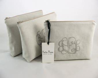 Personalized Makeup Bag, Monogram Makeup Bag, Large Makeup Bag, Bridesmaid Makeup Bag, Eco Bag