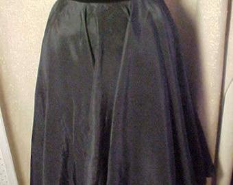"Vintage 50 Black Taffeta Circle Skirt with Velvet Band, 30""Waist.#2245"