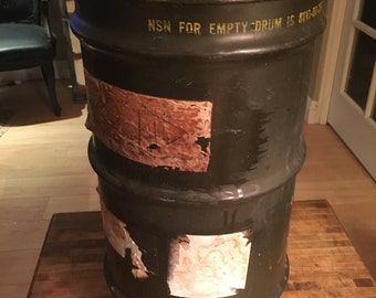 Vintage Military Army Drum Barrel Waste Bin Canister with Original Tags