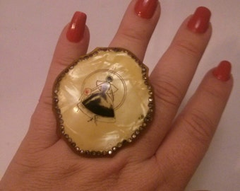 Altered Oversized Antique Bakelite Victorian Style Brooch to an gold filigree metal Adjustable Ring