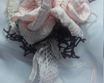 Headdress of pink flowers