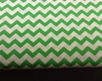 Green Chevron Fabric by the yard
