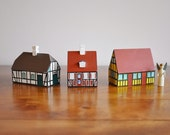 3 Bogense Traekunst Hand Painted Small Wood Houses, Scandinavian Christmas Holiday Village, Mid Century Danish Modern Homes, Højholm Design