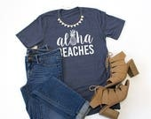Aloha Beaches Crew Neck Tshirt - Womens Clothing. Womens Tshirt. Graphic Tee - Tickled Teal