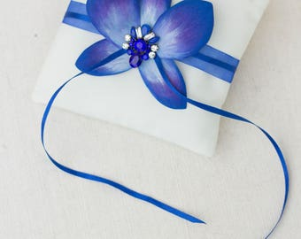 Orchid flower pillow, light blue and dark blue Wedding pillow. Wedding rings pillow, wedding pillow orchid.