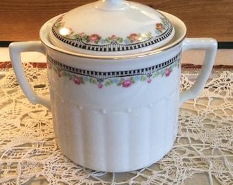 Vintage Biscuit Jar Porcelain Black Piano Trim with Roses-Serving Pieces-Dining-Collectibles-Biscuit Jars-Tea