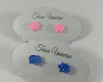 Pig Earrings, Resin Stud, Small Post Earrings, Choice of Pink or Blue