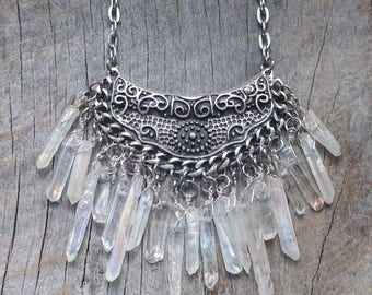 SALE Icy Quartz Crystal Nightfall Necklace - Silver Jewelry - Goth - Rainbow Aura - Witchy - Boho -  One of a Kind - Unique Handmade Gift