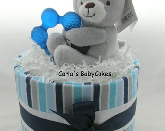 Mini diaper cake | Boy diaper cake | Baby diaper cake | Blue diaper cake | Baby shower gift | Baby shower decoration | Mom to be gift