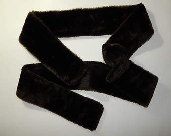 """2 PC 42"""" x 8"""" Faux Fur Dark Brown Sable Sewn Panels Sewing Craft Projects Material Fabric"""