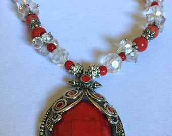 Tibetan Silver & Red Turquoise Pendant Necklace