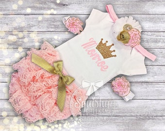 Perfect Baby Shower Gift, Baby Girl Outfit, Pink and Gold Newborn Outfit Newborn-24m, Short or Long Sleeves, Princess Shirt Take Home Outfit