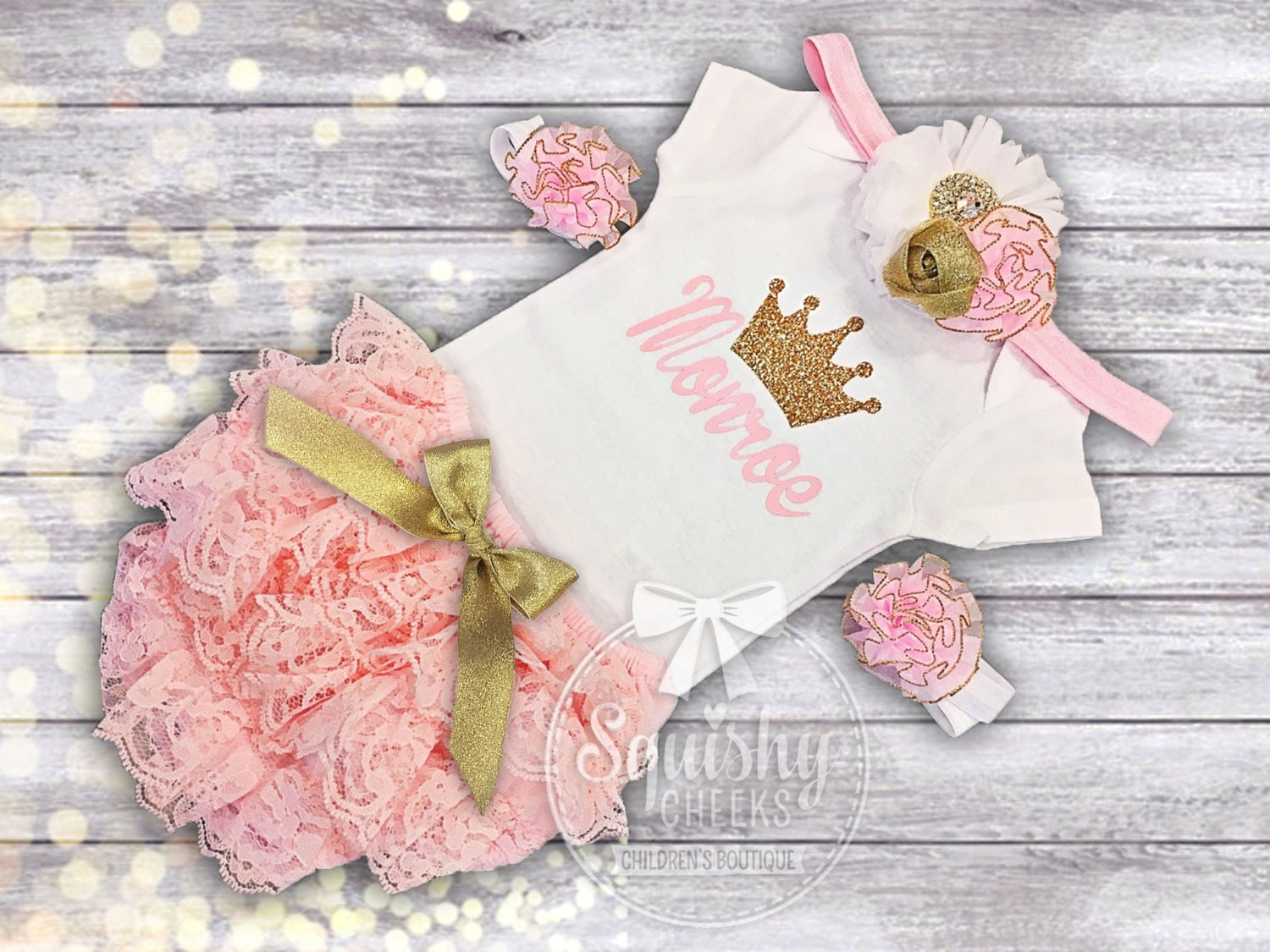 perfect baby shower gift baby girl outfit pink and gold