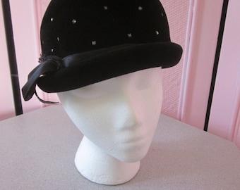 "1960s Fine Black Velour Cloche Hat by ""Roberta Bernays"""