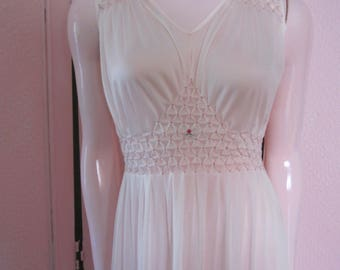 "1970s Pale Pink Nylon Full-Length Nightgown by ""Caravan Nighties,"" M"