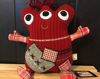 """Monster Plush - Merry Monsters - """"Alfie"""" - Stuffie -  Handmade from Upcycled Materials"""