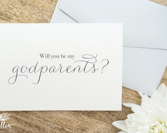Baptism Card | Christening Card | Will you be my Godparents? | Will you be my Godmother? | Will you be my Godfather? | Single Card