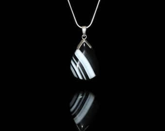 Black and White Striped Onyx Agate Teardrop Gemstone Pendant Necklace, Onyx and Sterling Silver Pendant, Black and White Gemstone Necklace