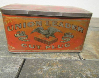 UNION LEADER Cut Plug Tin Can  ,Smoke and Chew Tobacco  tin, smoking and chewing , great Graphics,