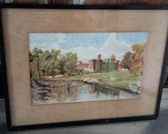 Original 1927 Vintage Watercolour of Chiddingstone Castle Kent