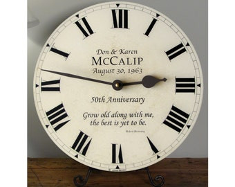 Custom 50th, 40th, 25th Anniversary Clock - Personalized with a Favorite Quote or Verse from a Favorite Song
