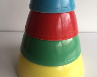 Vintage Pyrex Primary Mixing Bowl Set 401 402 403 404 Complete Set of 4 Bowls