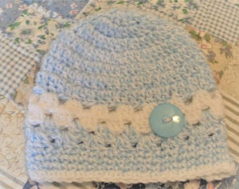 Free Shipping Baby Hat Ships Free Baby Hat Crochet  Baby Hat Blue Baby Hat Granny Baby Hat Blue Baby Granny Hat