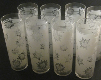 Vintage White Frosted Snowflake Glasses (8), Tall Slender Tom Collins Glasses, Made by Federal Glass, Mid Century Barware